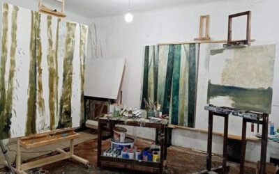 """Atelier view for the upcoming solo exhibition of Dániel Tarcsi """"Layers"""""""