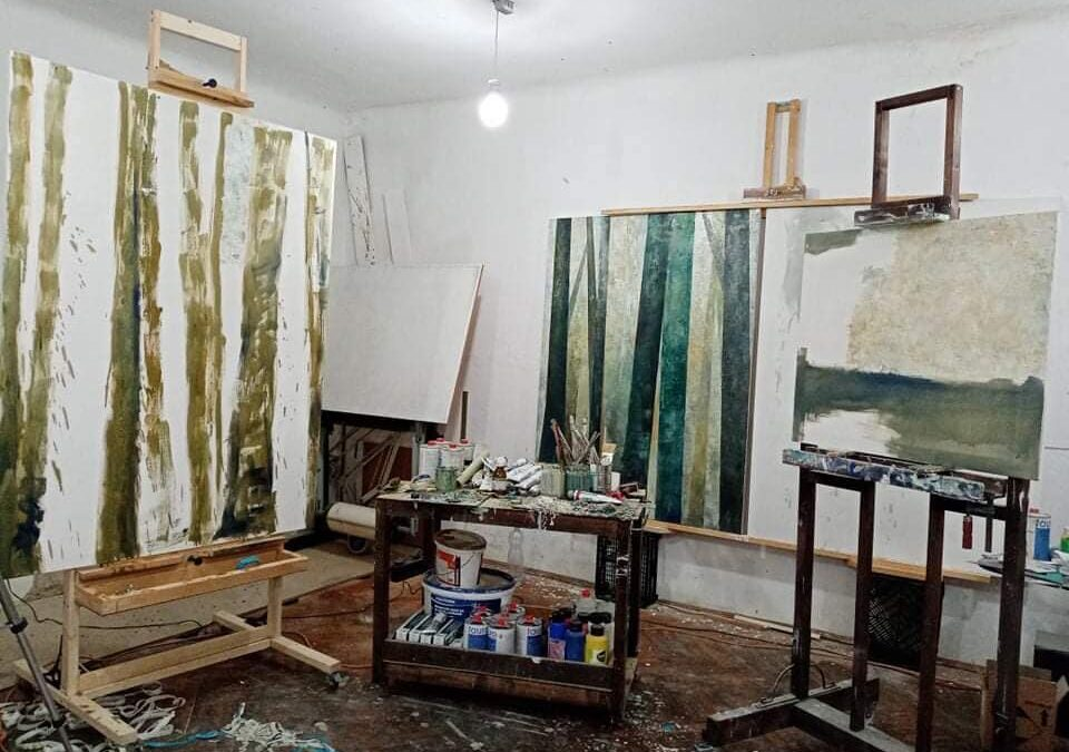 """Athelier view for the upcoming solo exhibition of Dániel Tarcsi """"Layers"""""""